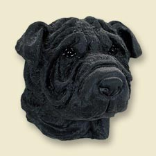 Shar Pei Black Doogie Head