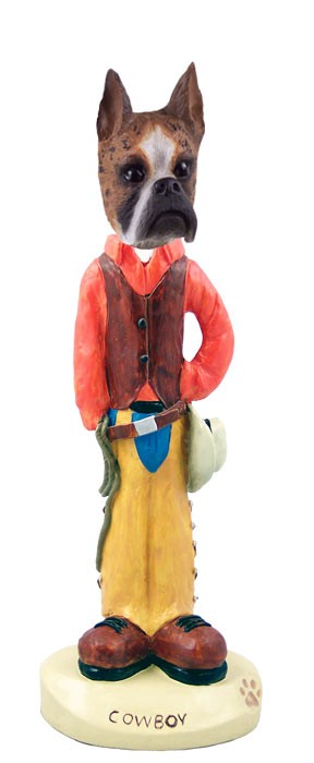 Boxer Brindle Cowboy Doogie Collectable Figurine