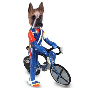 Boxer Brindle Bicycle Doogie Collectable Figurine