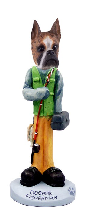 Boxer Brindle Fisherman Doogie Collectable Figurine
