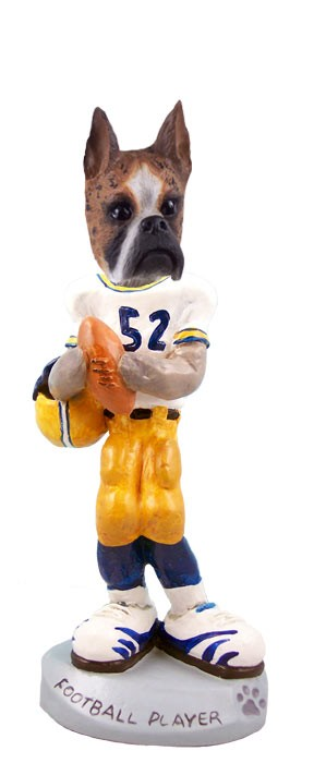 Boxer Brindle Football Player Doogie Collectable Figurine