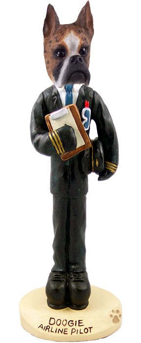 Boxer Brindle Airline Pilot Doogie Collectable Figurine