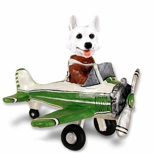 German Shepherd White Airplane Doogie Collectable Figurine