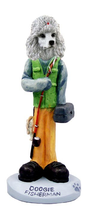 Poodle White Fisherman Doogie Collectable Figurine