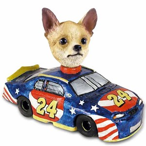 Chihuahua Tan/White Race Car Doogie Collectable Figurine