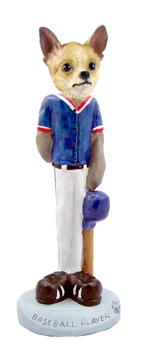 Chihuahua Tan/White Baseball Player Doogie Collectable Figurine
