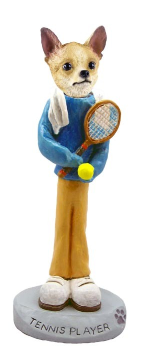 Chihuahua Tan/White Tennis Player Doogie Collectable Figurine