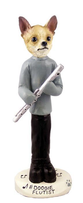 Chihuahua Tan/White Flutist Doogie Collectable Figurine