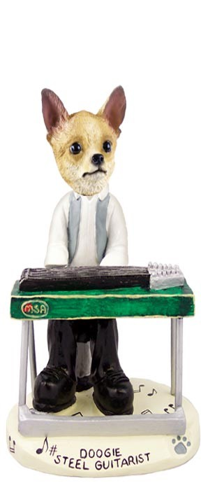 Chihuahua Tan/White Steel Guitarist Doogie Collectable Figurine