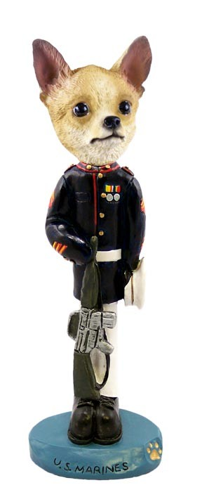 Chihuahua Tan/White U.S. Marines Doogie Collectable Figurine