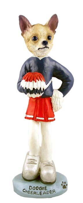 Chihuahua Tan/White Cheerleader Female Doogie Collectable Figurine