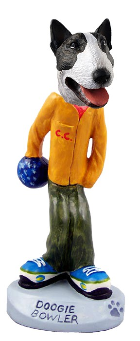Bull Terrier Brindle Bowler Doogie Collectable Figurine