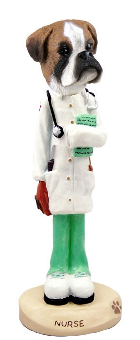 Boxer Uncropped Nurse Doogie Collectable Figurine