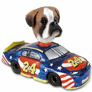 Boxer Uncropped Race Car Doogie Collectable Figurine