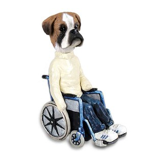 Boxer Uncropped Wheelchair Doogie Collectable Figurine