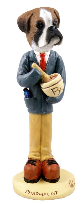 Boxer Uncropped Pharmacist Doogie Collectable Figurine