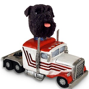 Schnauzer Black w/Uncropped Ears Truck Tractor Doogie Collectable Figurine