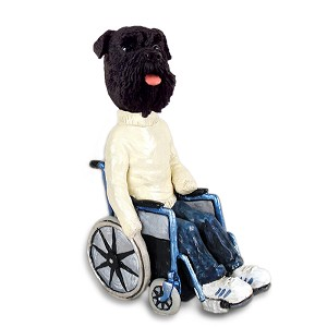 Schnauzer Black w/Uncropped Ears Wheelchair Doogie Collectable Figurine