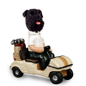 Schnauzer Black w/Uncropped Ears Golf Cart Doogie Collectable Figurine