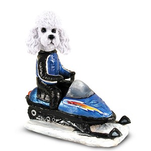 Poodle White w/Sport Cut Snowmobile Doogie Collectable Figurine