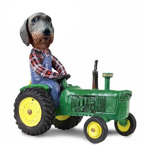 Wire Haired Dachshund Tractor Doogie Collectable Figurine