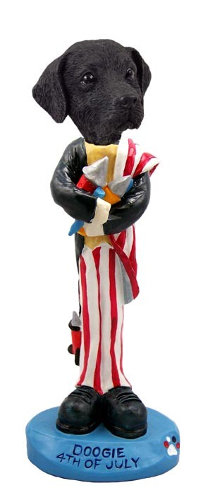 Labrador Retriever Black 4th Of July Doogie Collectable Figurine