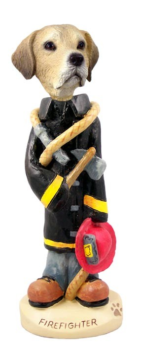 Labrador Retriever Yellow Fireman Doogie Collectable Figurine