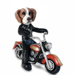 Brittany Brown & White Motorcycle Doogie Collectable Figurine