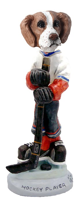 Brittany Brown & White Hockey Player Doogie Collectable Figurine