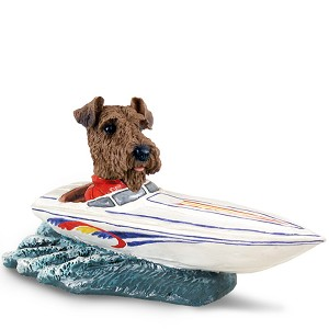 Airedale Motorboat Doogie Collectable Figurine