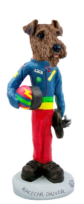 Airedale Racecar Driver Doogie Collectable Figurine