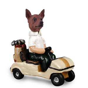 Miniature Pinscher Red & Brown Golf Cart Doogie Collectable Figurine