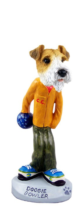 Wire Fox Terrier Red Bowler Doogie Collectable Figurine