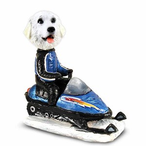 Great Pyrenees Snowmobile Doogie Collectable Figurine
