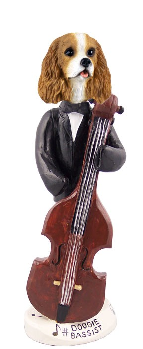 Cavalier King Charles Spaniel Brown & White Bassist Doogie Collectable Figurine