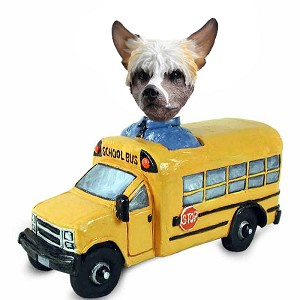 Chinese Crested School Bus Doogie Collectable Figurine