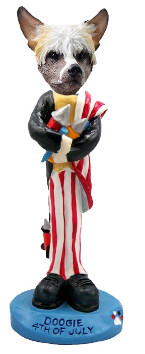 Chinese Crested 4th of July Doogie Collectable Figurine