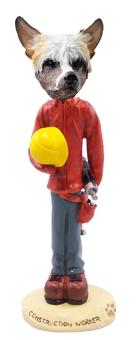 Chinese Crested Construction Worker Doogie Collectable Figurine