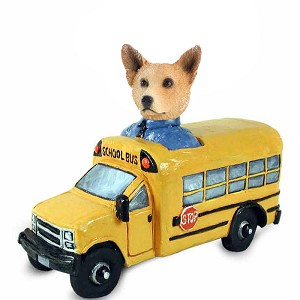 Australian Cattle Dog, RED School Bus Doogie Collectable Figurine
