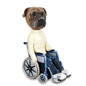 Bull Mastiff Wheelchair Doogie Collectable Figurine