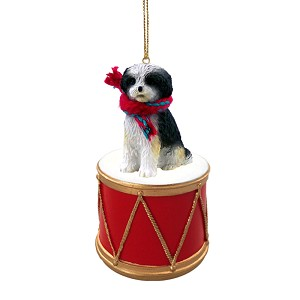 Shih Tzu Black & White w/Sport Cut Drum Ornament