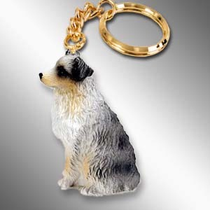 Australian Shepherd Blue w/Docked Tail Key Chain
