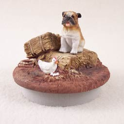 "Bulldog Candle Topper Tiny One ""A Day on the Farm"""
