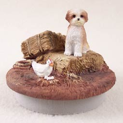 "Shih Tzu Tan w/Sport Cut Candle Topper Tiny One ""A Day on the Farm"""