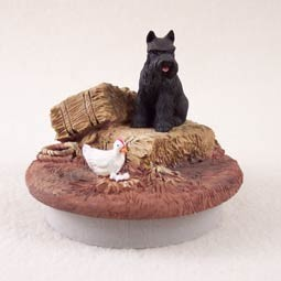 "Schnauzer Black Candle Topper Tiny One ""A Day on the Farm"""