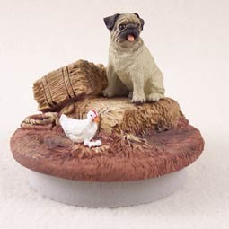 "Pug Fawn Candle Topper Tiny One ""A Day on the Farm"""