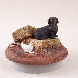 "Dachshund Black Candle Topper Tiny One ""A Day on the Farm"""