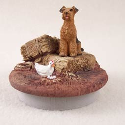 "Airedale Candle Topper Tiny One ""A Day on the Farm"""