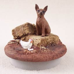 "Miniature Pinscher Red & Brown Candle Topper Tiny One ""A Day on the Farm"""