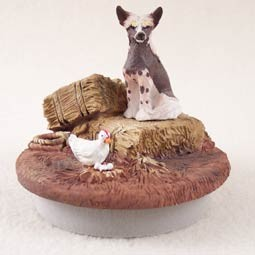 "Chinese Crested Dog Candle Topper Tiny One ""A Day on the Farm"""